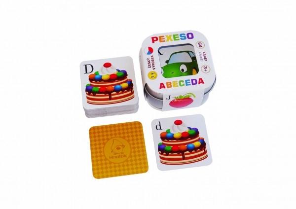 Pexeso Abeceda 64 kariet v plechovej krabičke 6x6x4cm Hmaťák