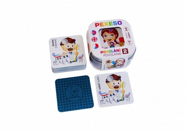 Pexeso Povolanie 2, 64 kariet v plechovej krabičke 6x6x4cm Hmaťák