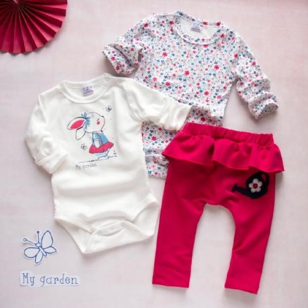K-Baby 3 dielna sada - 2x body dlhý rukáv, tepláčky - Králiček, červená, biela