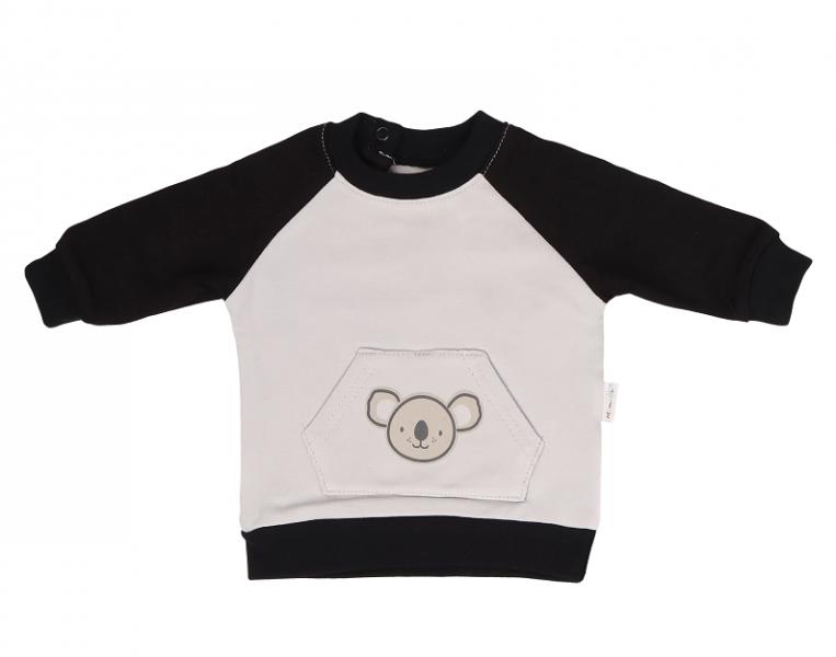 Mamatti Detská mikina Koala, s bočným zapínaním,  šedo-čierna, veľ. 92