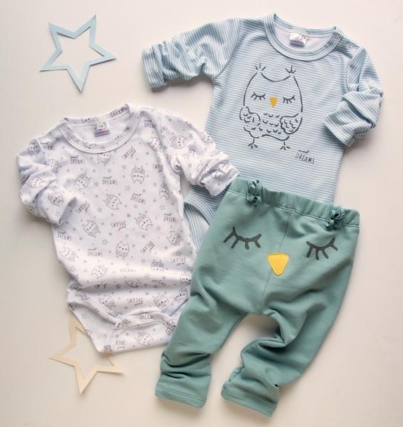 K-Baby 3 dielna sada - 2x body dlhý rukáv, tepláčky - Sova, mátová, modrá