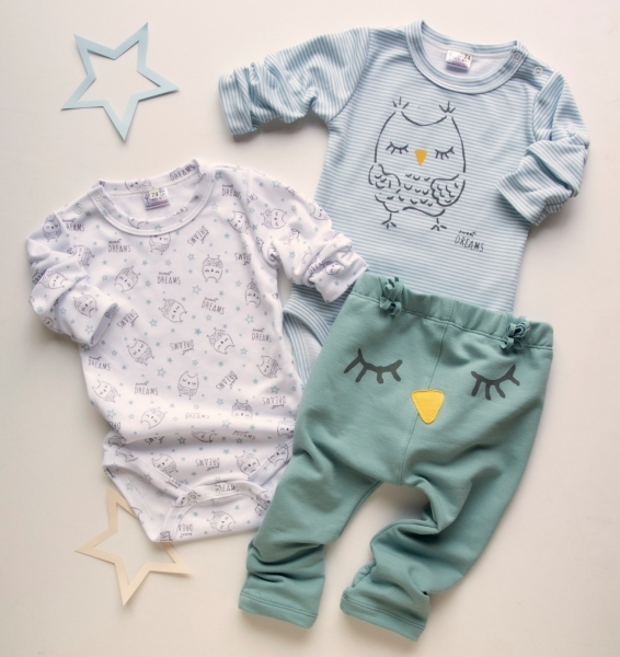 K-Baby 3 dielna sada - 2x body dlhý rukáv, tepláčky - Sova, mátová, modrá, vel. 68