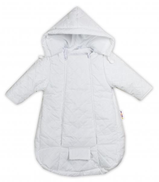 Kombinéza s kapucňou do autosedačky, kočíka Lux Baby Nellys ®prešívaná - biela, veľ 56