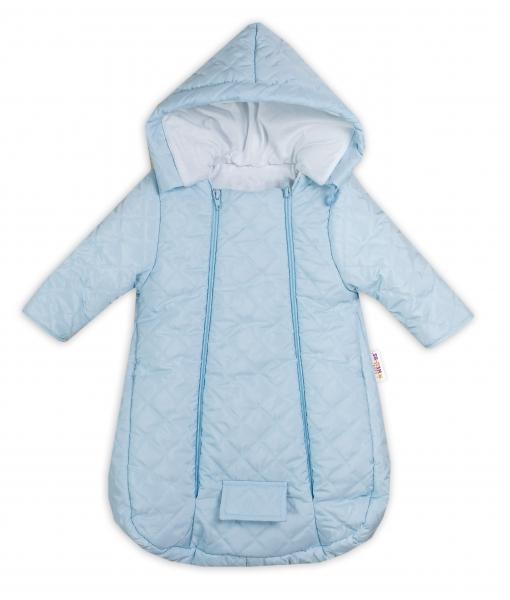 Kombinéka s kapucňou do autosedačky, kočíka Lux Baby Nellys ®prešívaná - modrá, veľ 56