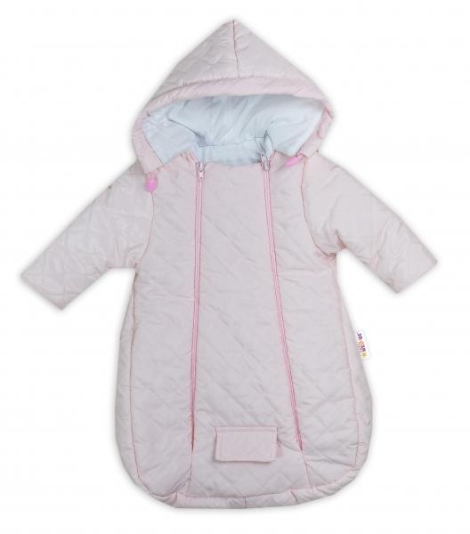 Kombinéza s kapucňou do autosedačky, kočíka Lux Baby Nellys ®prešívaná - ružová, veľ. 62