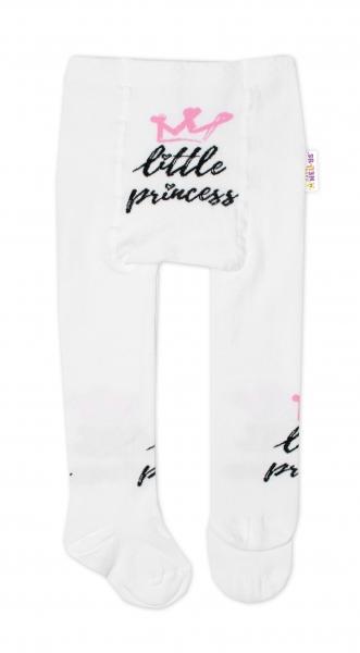 Detské pančuchy bavlnené, Little Princess - biele, veľ. 80-86