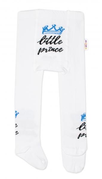 Detské pančuchy bavlnené, Little Prince - biele s modrou korunkou, veľ 62-74