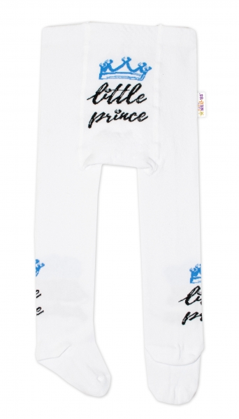 Detské pančuchy bavlnené, Little Prince - biele s modrou korunkou, veľ. 80/86