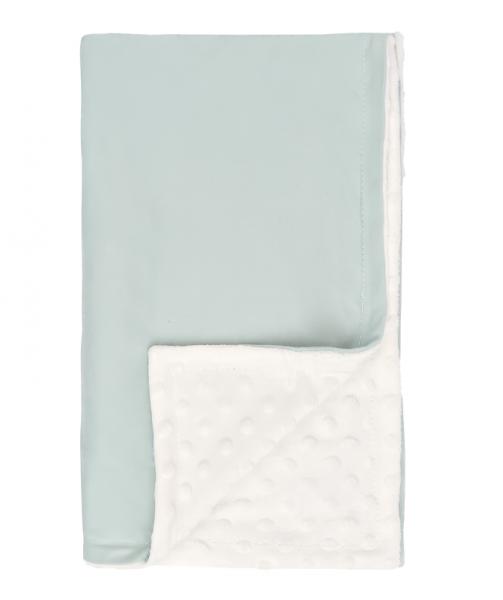 Mamatti Detská bavlněná deka s minky, Super Boy - 75 x 90 cm, mätovo-biela