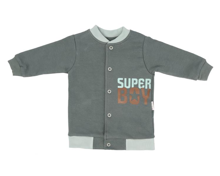 Mamatti Bavlnená detská mikina Super Boy, zelená, veľ. 98