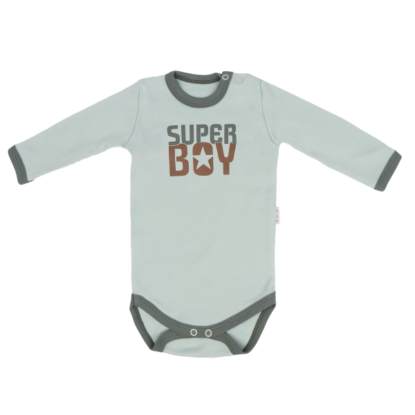 Detské bavlnené body Super Boy - mätové, veľ. 74