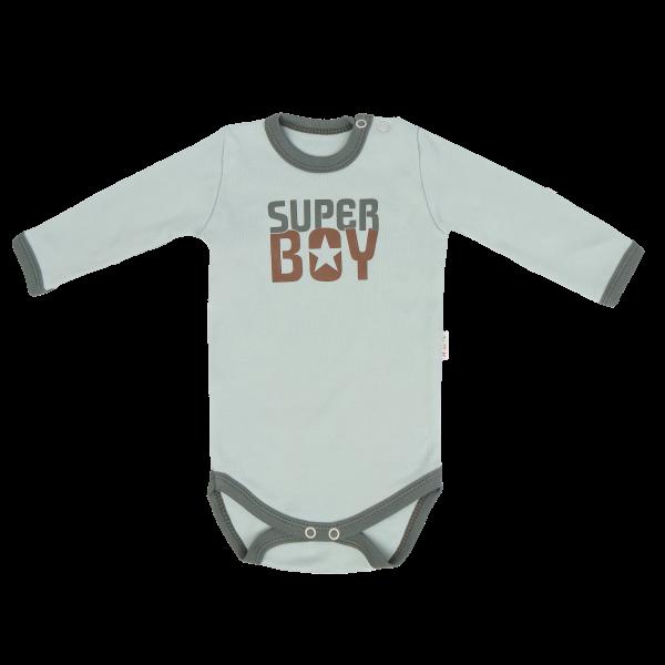 Detské bavlnené body Super Boy - mätové, veľ. 80