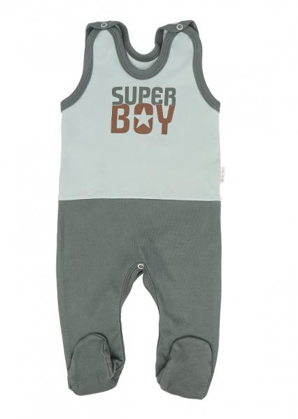 Mamatti Dojčenské dupačky Super Boy, zelená - mätová, veľ. 68