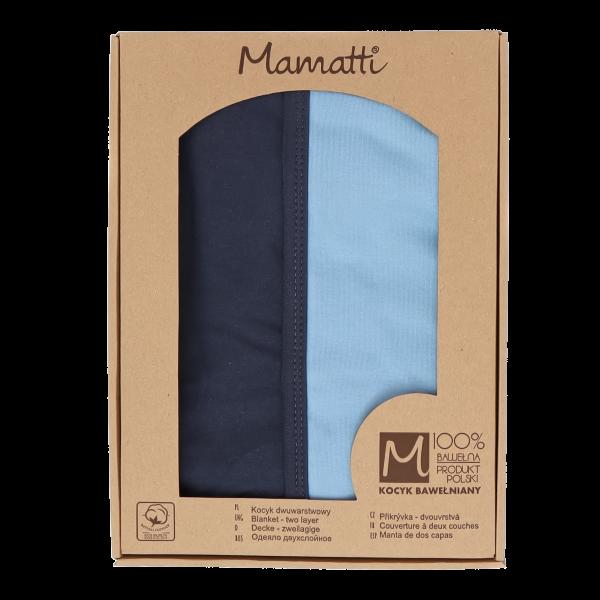 Mamatti Detská bavlněná deka, Happy - 80 x 90 cm, v darčekovej krabičke, modrá-granát
