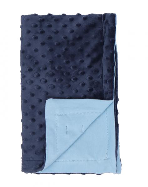 Mamatti Detská bavlněná deka s minky, Happy - 75 x 90 cm, granát-modrá