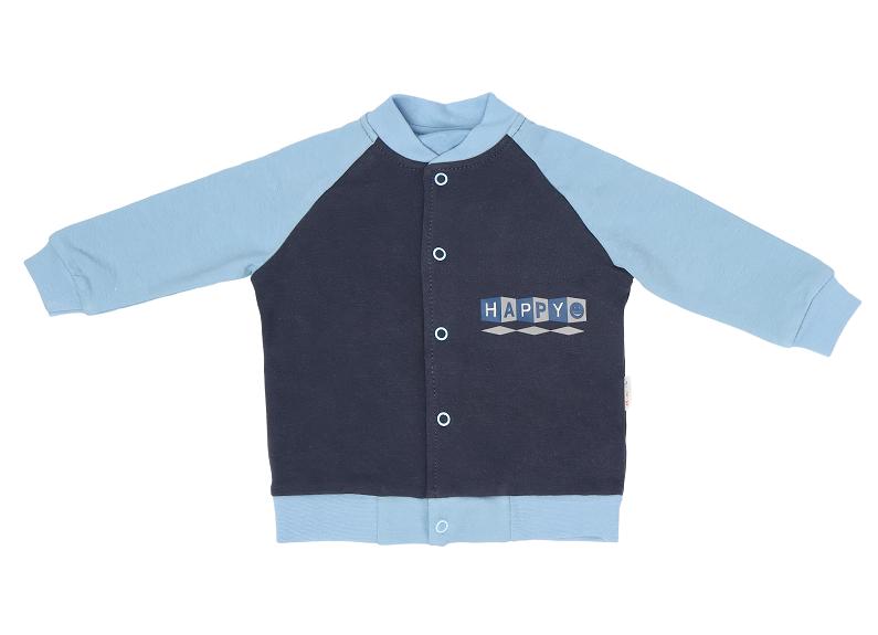 Mamatti Bavlnená detská mikina Happy, granát-modrá, veľ. 74-74 (6-9m)