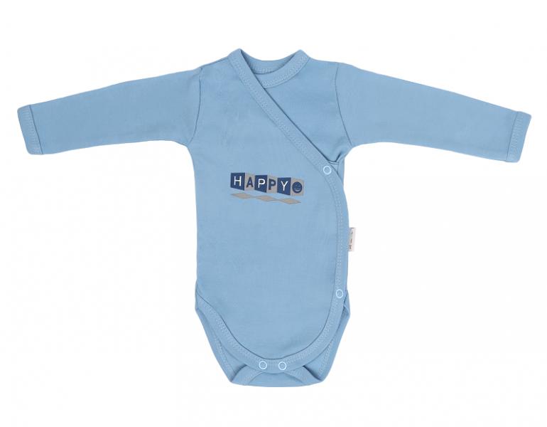 Dojčenské body, zapínanie bokom, Happy - modré, veľ 50