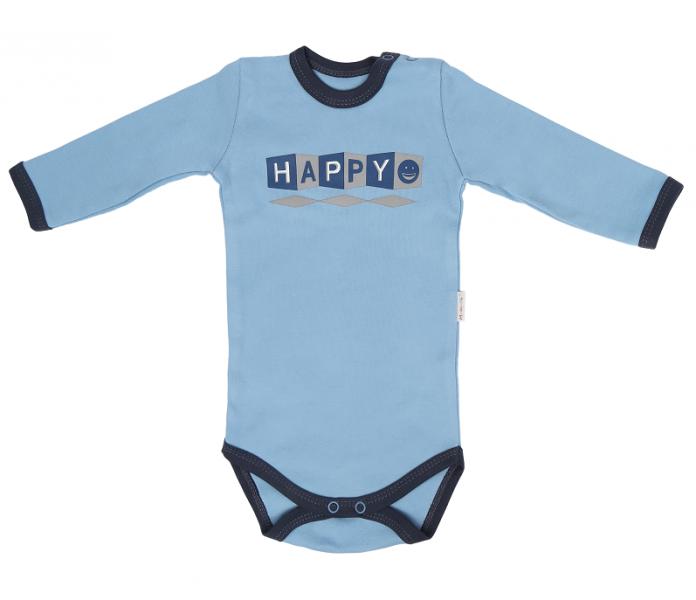 Detské bavlnené body Happy - modré, veľ 68
