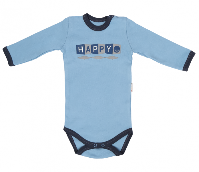 Detské bavlnené body Happy - modré, veľ. 80