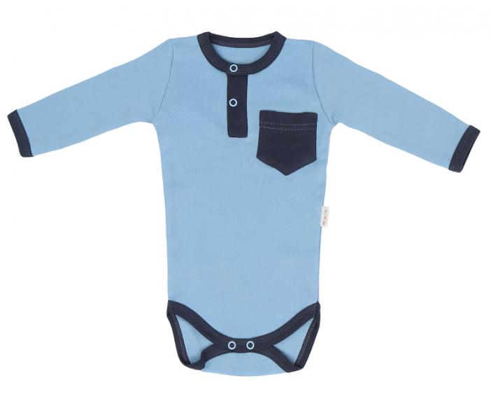 Dojčenské body dlhý rukáv Happy - modré, veľ. 80