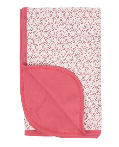 Mamatti Detská bavlnená deka, Rozeta - 80 x 90 cm, ecru-ružová