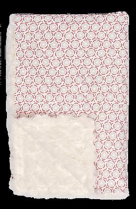 Mamatti Detská bavlnená deka s minky, Mašle - 75 x 90 cm, ecru-ružová