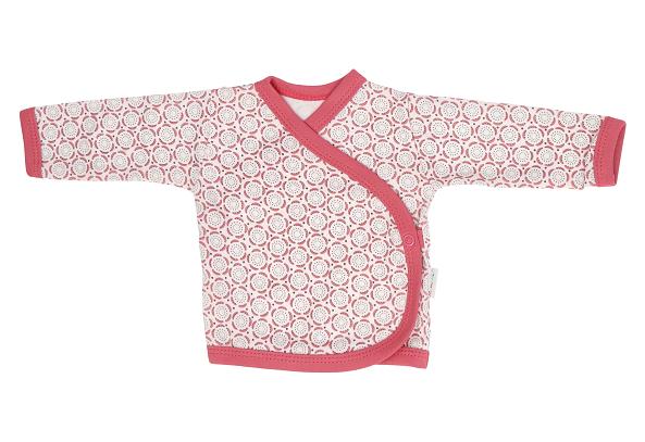 Mamatti Novorodenecká bavlnená košieľka zapínanie bokom, Rozeta - ružová, veľ. 62