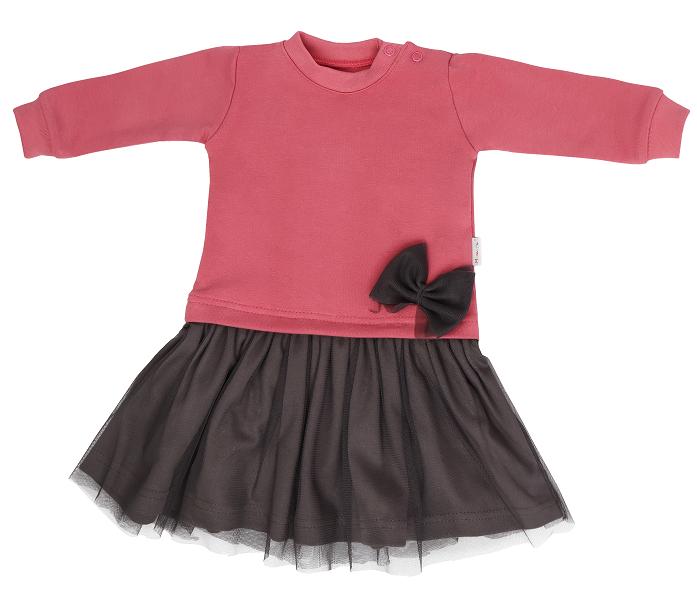 Mamatti Dojčenské šaty s šedým týlem Rozeta, růžovo-šedá