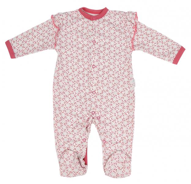 Dojčenský bavlnený overal s volánikom Rozeta, ecru-ružový, veľ. 74
