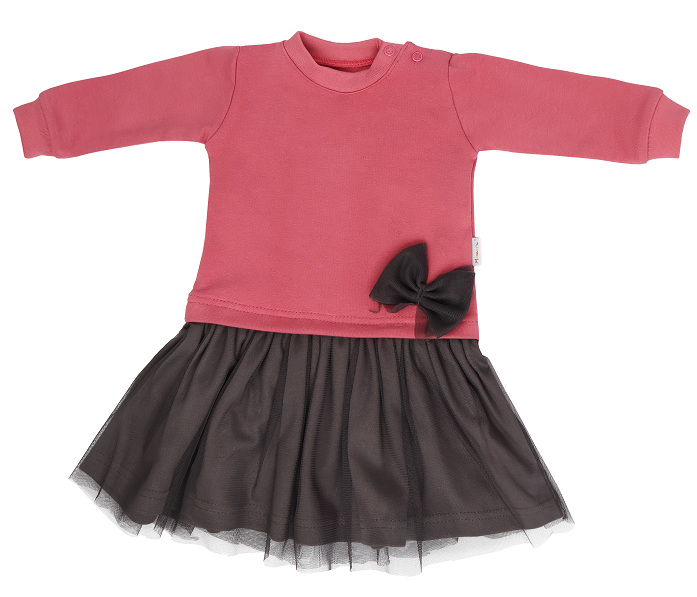 Mamatti Detské šaty s šedým týlem Rozeta, růžovo-šedá, veľ. 98-#Velikost koj. oblečení;98 (24-36m)