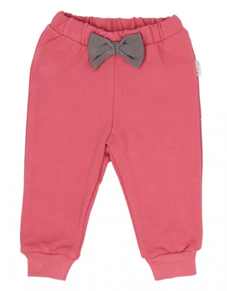 Mamatti Dojčenské tepláčky s mašličkou, Rozeta - růžové, veľ. 86-#Velikost koj. oblečení;86 (12-18m)