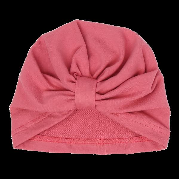 Mamatti Bavlnená detská čiapka - turban, Rozeta - růžová, veľ. 2-3 roky