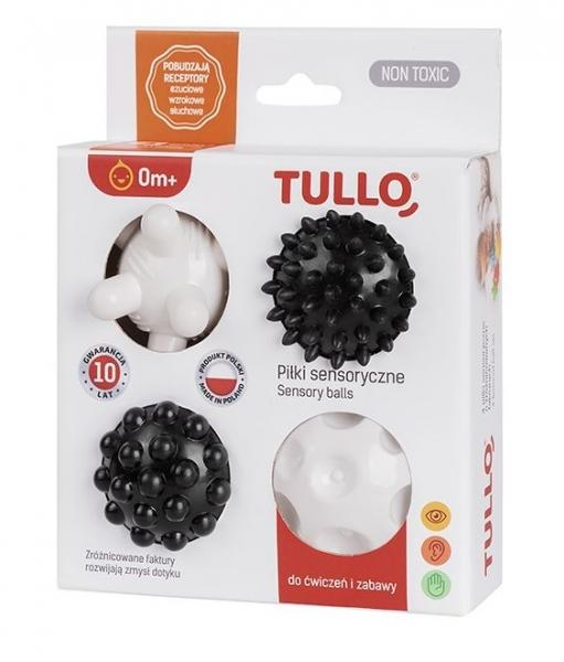 TULLO Edukačné farebné loptičky 4ks v krabičke, bielo - čierna
