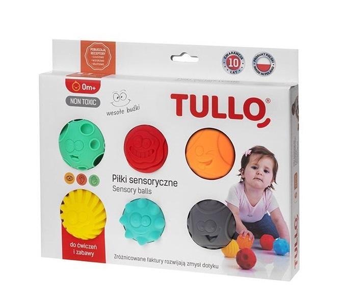 TULLO Edukačné farebné loptičky 6ks v krabičke, smajlíci