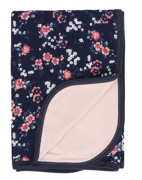Mamatti Detská bavlnená deka, Flowers - 80 x 90 cm, granát,sv. ružová