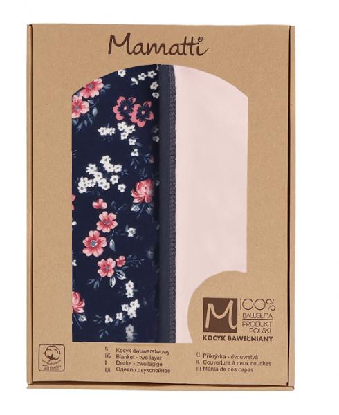 Mamatti Detská bavlnená deka, Flowers - 80 x 90 cm, v darčekovej krabičke