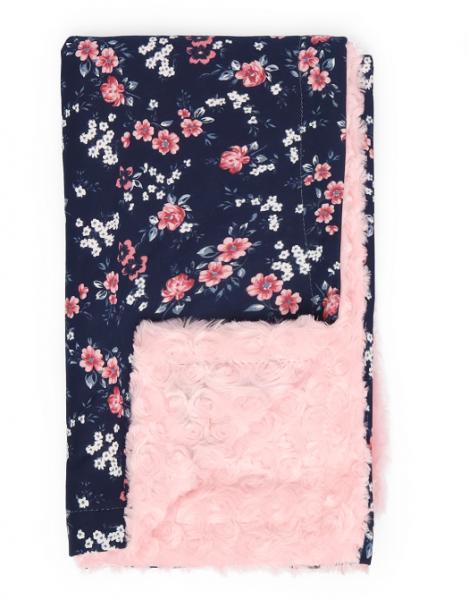 Mamatti Detská bavlnená deka s minky, Flowers - 75 x 90 cm, granát-růžová