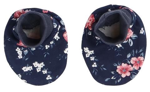 Mamatti Dojčenské topánočky, ponožtičky Flowers - granátová s kvietkami