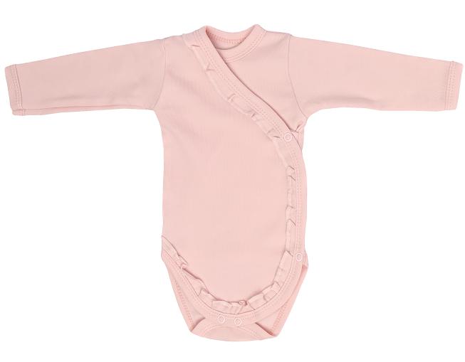 Dojčenské body, zapínanie bokom, Flowers, růžové, veľ. 56