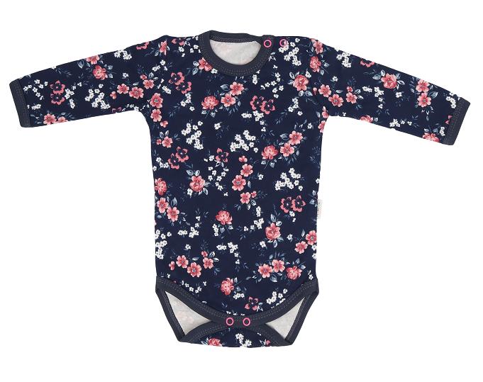 Mamatti Detské bavlnené body Flowers, granátové s kvietkami, veľ. 86