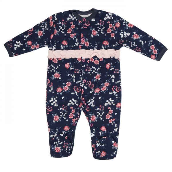 Dojčenský bavlnený overal Flowers, granátový s kvietkami, veľ. 80