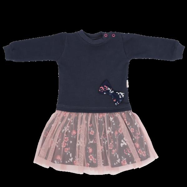 Detské šaty s ružovým tylom Flowers, granátovo-ružové, veľ. 92
