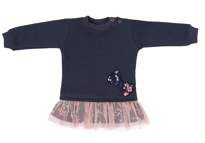 Mamatti Detké tričko, tunika s ružovým tylom Flowers - granátové, veľ. 92