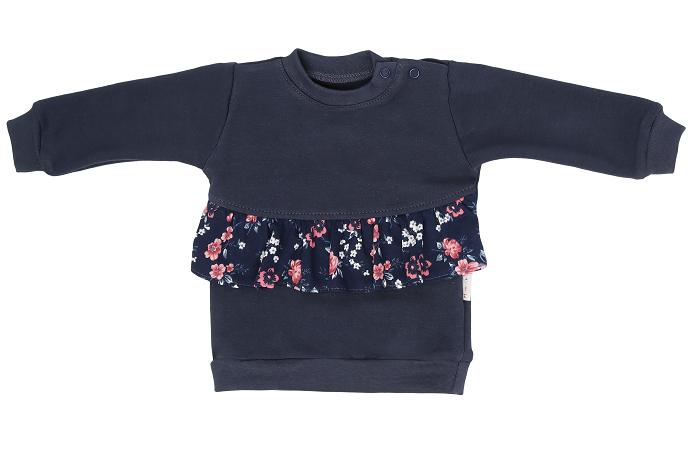 Mamatti Detská mikina Flowers, s bočným zapínaním - granátová, veľ. 74