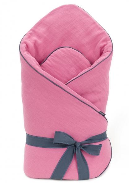 Mamo Tato Dojčenská zavinovačka, mušelínová double na zaväzovanie, 70x70cm -  ružová