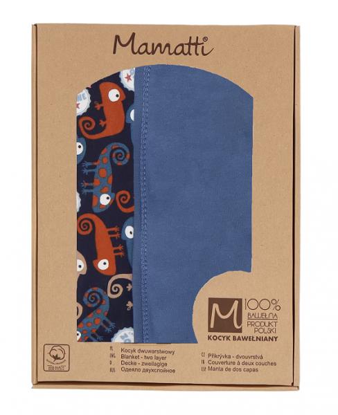 Mamatti Detská bavlnená deka, Chameleon - 80 x 90 cm, v darčekovej krabičke, granát