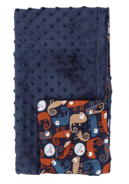 Mamatti Detská bavlnená deka s minky, Chameleon - 75 x 90 cm, granát