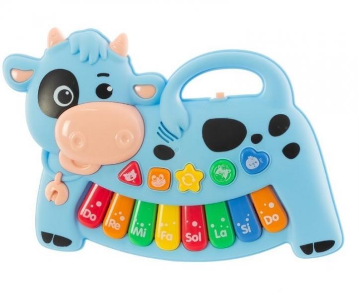 Euro Baby Interaktívna hračka s melódiou - Kravička, modrá