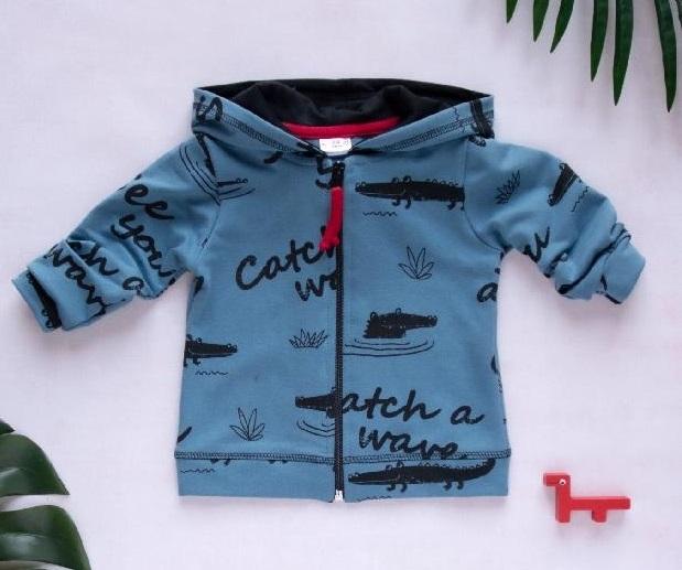 K-Baby Dětská mikina s kapucňou, Krokodíl - tm. modrá, veľ. 74-74 (6-9m)