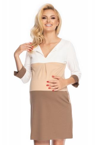 Be Maamaa Tehotenské šaty so širokými pruhmi, 3/4 rukáv - cappuccino, veľ. L/XL